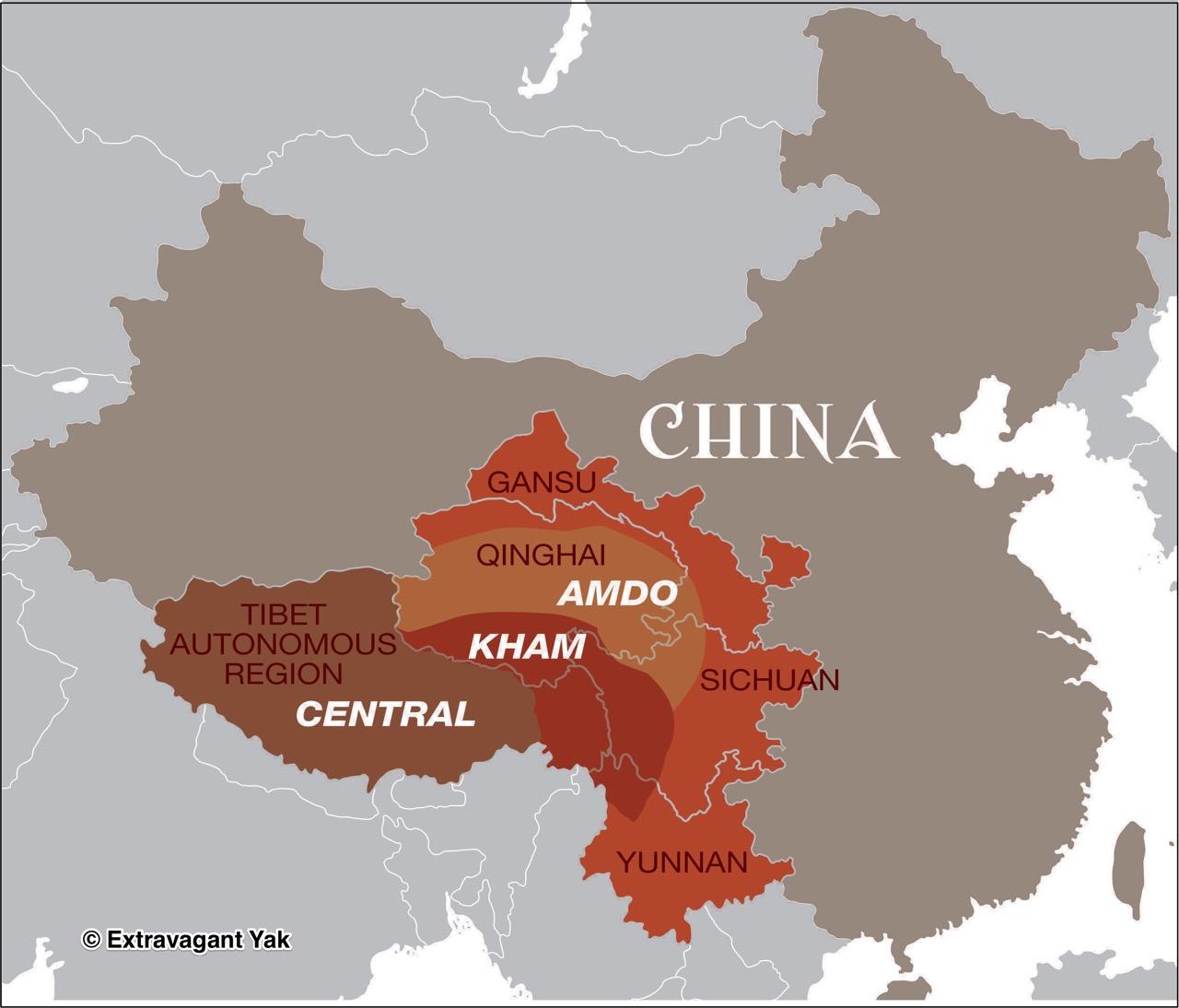 tibet regions map